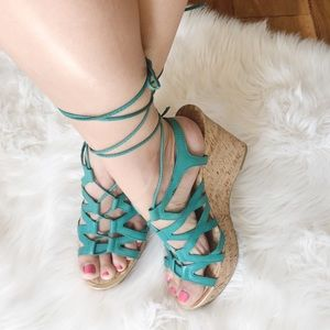 Aldo Caged Lace Up Wedges.